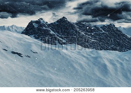 3d rendering of snow covered mountain landscape in winter season