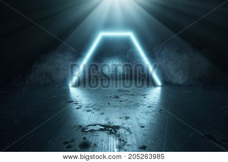 3d rendering of blue light hexagon on grunge background