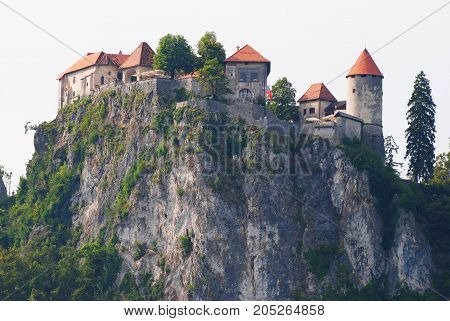 Bled, Slovenia - July 20, 2014. Bled castle on a steep cliff