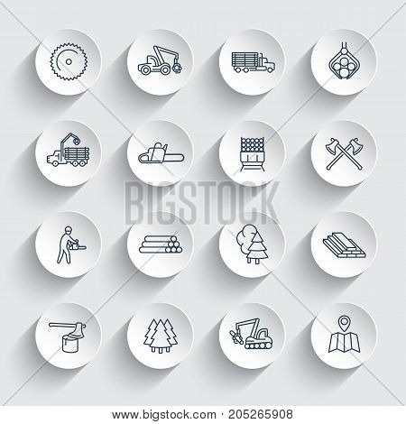 Logging line icons, sawmill, forestry equipment, logging truck, tree harvester, timber, wood, lumber, linear icons on round 3d shapes, vector illustration