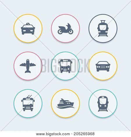 Passenger transport icons, public transportation, bus, subway, tram, taxi, airplane, vector illustration