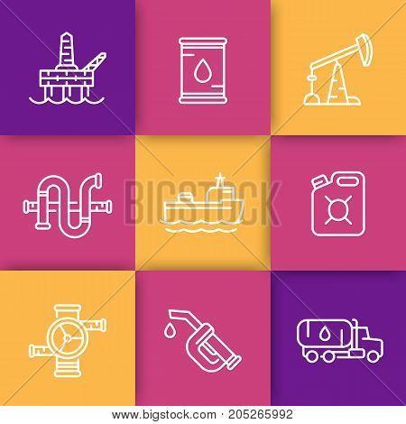 Petroleum industry line icons, barrel, oil and gas production platform, rig, derrick, pipeline, tanker ship, gasoline nozzle, petrol can, vector illustration