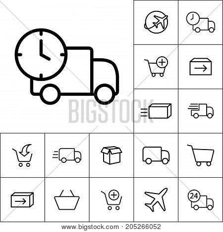 Thin Line Delivery Truck Icon On White Background, Shipping Icon