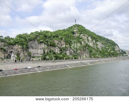 distant view of the Gellert hill with Citadella in Budapest the capital city of Hungary