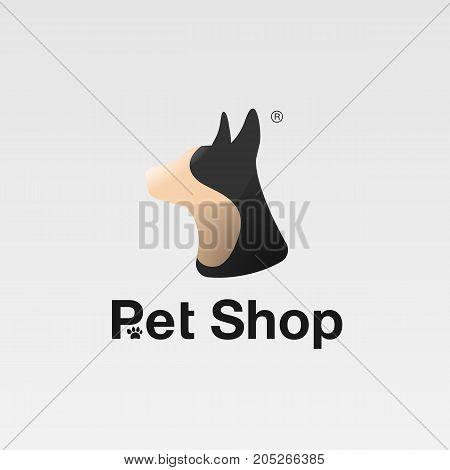 Funny dog symbol, pet emblem, veterinary clinic logo or pet shop