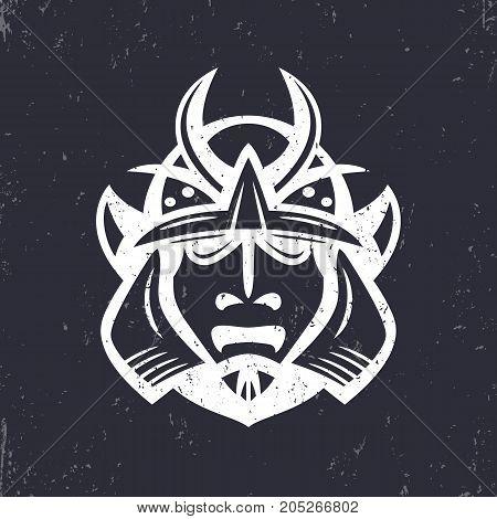 Samurai helmet, japanese facial armour worn by the samurai warrior, traditional martial mask, vector illustration poster