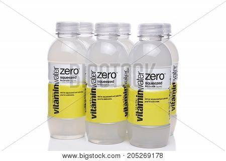 IRVINE CA - SEPTEMBER 22 2017: Glaceau Vitamin Water Zero squeezed lemonade. Glaceau is a privately owned subsidiary of The Coca-Cola Company