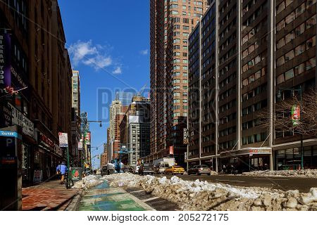 New York City - February 27, 2017: Some Town In New York City After Snow Storm, Winter Is Coming By