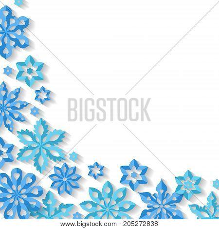 Corner snowflakes isolated on white background. Art vector illustration