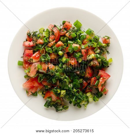 Salad Of Tomatoes, Onion, Dill On A Plate Isolated On White