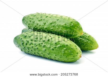 Three fresh cucumbers isolated on white background