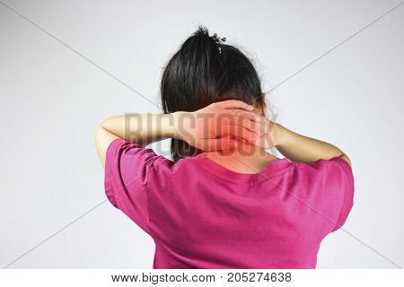 Women has neck pain and back ache