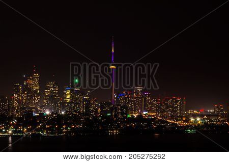 Lights of Toronto buildings at night time