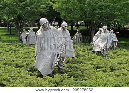WASHINGTON DC - MAY 2, 2011: Korean War Veterans Memorial located in National Mall in Washington DC.