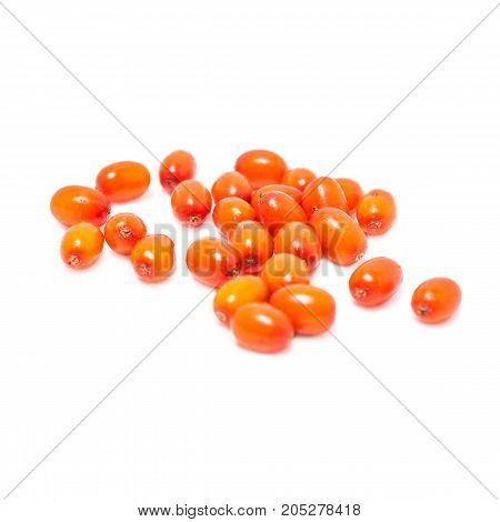 Ripe berries of sea buckthorn scattering isolated on white background