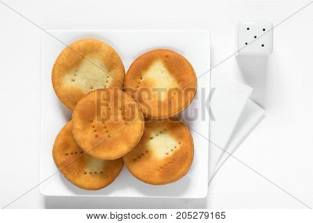 Traditional Chilean Sopaipilla fried pastries made of a bread-like leavened dough photographed overhead with natural light