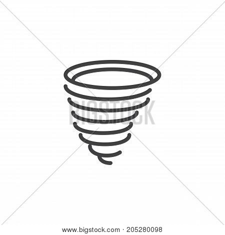 Tornado line icon, outline vector sign, linear style pictogram isolated on white. Symbol, logo illustration. Editable stroke