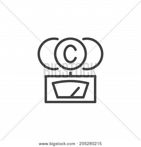 CO2- gauge line icon, outline vector sign, linear style pictogram isolated on white. Symbol, logo illustration. Editable stroke