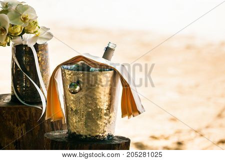 Champagne Bottle In Ice Bucket.