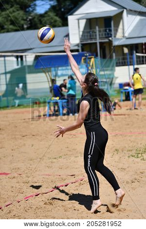 Orenburg, Russia, 9-10 June 2017 Year: Girl Playing Beach Volleyball On City Tournament Beach Volley