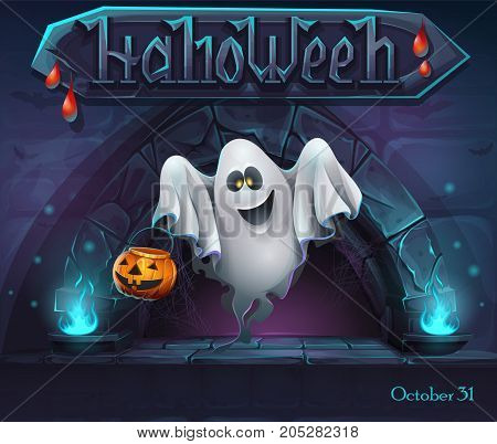 Halloween background with Ghost with pumpkin. For web video games user interface design