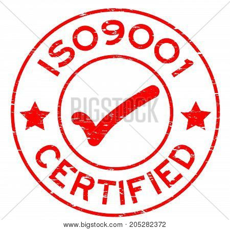 Grunge red ISO9001 certified round rubber seal stamp on white background
