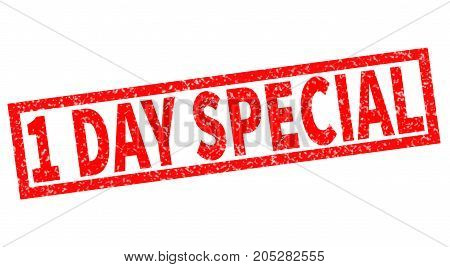 one day special red rubber stamp on white background. one day special sign.