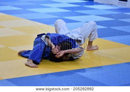 Orenburg, Russia - 21 October 2016: Boys Compete In Judo
