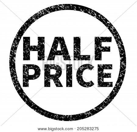 half price rubber stamp on white background. half price sign.