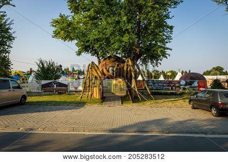 POMORIE BULGARIA - AUGUST 18 2017: Entertaining-family park with full-grown figures of dinosaurs - Dino Family Park.