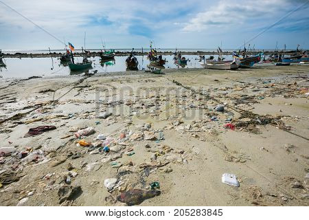 Koh Samui, Thailand - April 22: Garbage On  Beach  In Koh Samui, Thailand