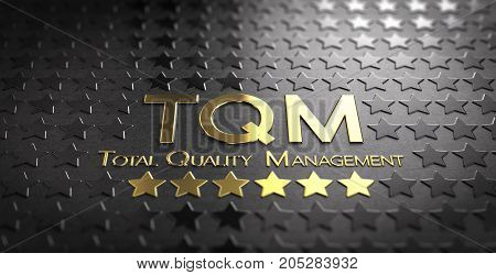 Accronym TQM and the text Total Quality Management written in gold letters over black background with stars 3D illustration
