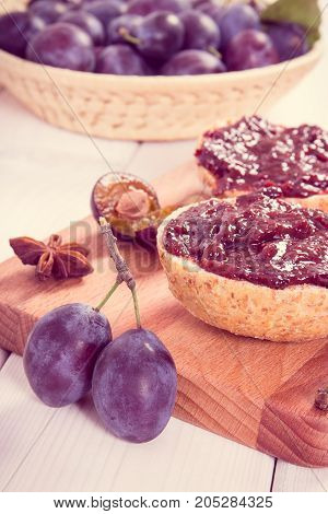 Vintage Photo, Fresh Prepared Sandwiches With Plum Marmalade Or Jam On Wooden Cutting Board, Breakfa