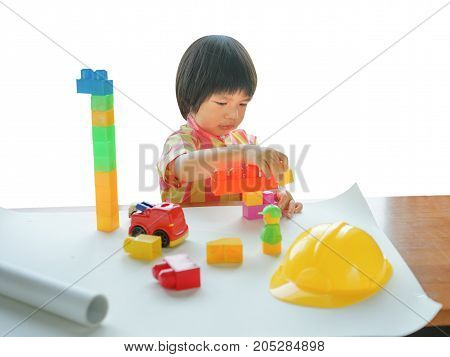 Kids Play Room, Child playing building blocks toys, Development and construction concept