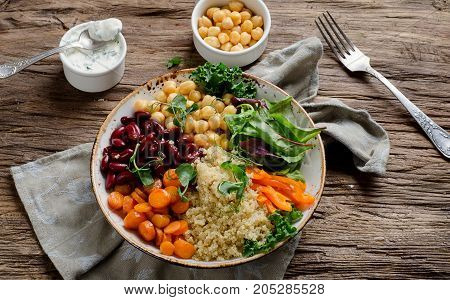 Vegetarian Buddha Bowl With Quinoa And Chickpea