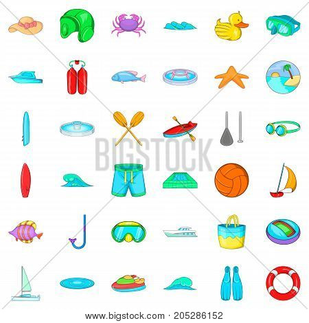 Scuba icons set. Cartoon style of 36 scuba vector icons for web isolated on white background
