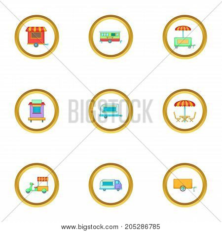 Market stall icons set. Cartoon style set of 9 market stall vector icons for web design