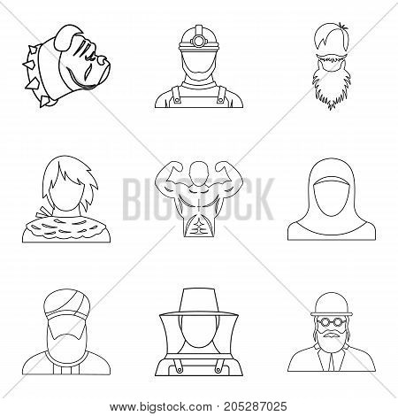 Torso icons set. Outline set of 9 torso vector icons for web isolated on white background
