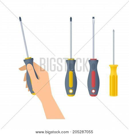 Human hand holds screwdriver. Flat illustration of male hand with builder and construction tool and screwdrivers with cross and flat heads. Vector design element set isolated on white background.