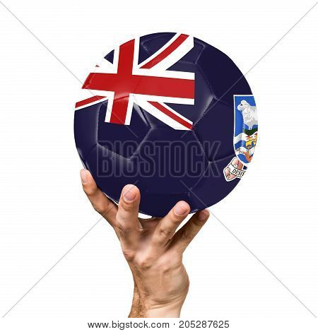 soccer ball with the image of the flag of Falkland Islands, ball isolated on white background.