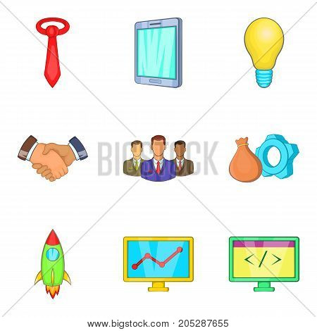 Rich company icons set. Cartoon set of 9 rich company vector icons for web isolated on white background