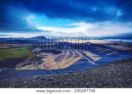 Volcanic Fields Covered With Lava And Rock. Picturesque Icelandic Landscape.