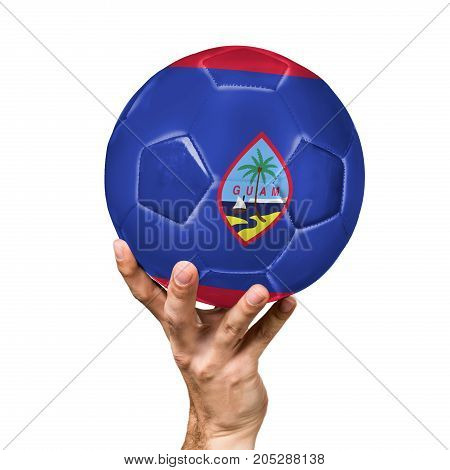 soccer ball with the image of the flag of Guam, ball isolated on white background.
