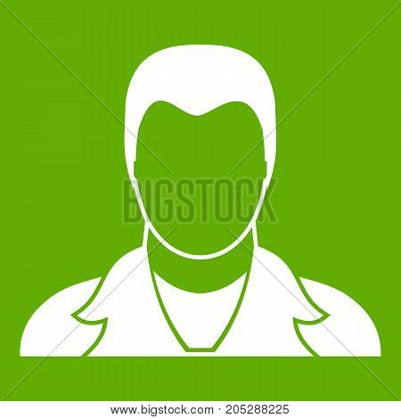 User icon white isolated on green background. Vector illustration