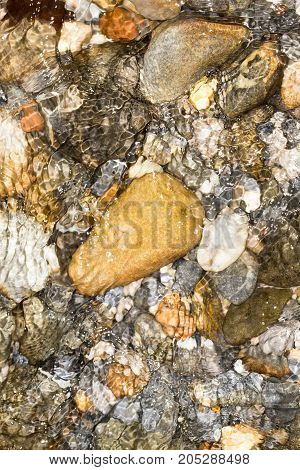 Background of water and stone . In a park in the nature