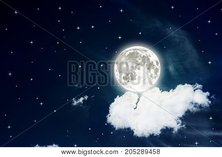 Night sky with stars and full moon background. Elements of this image furnished by NASA