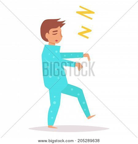 Man walks in a dream. Hands put forward. Vector. Cartoon. Isolated art on white background. Flat