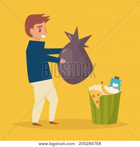 Man throws garbage in the trash. Vector. Cartoon. Isolated art on white background. Flat.