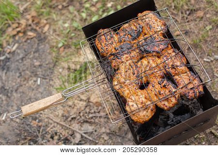 Cooking On Barbeque Grill With Flame
