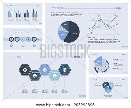 Infographic design set can be used for workflow layout, diagram, annual report, presentation, web design. Business and marketing concept with process, line, pie, Venn and pie charts.